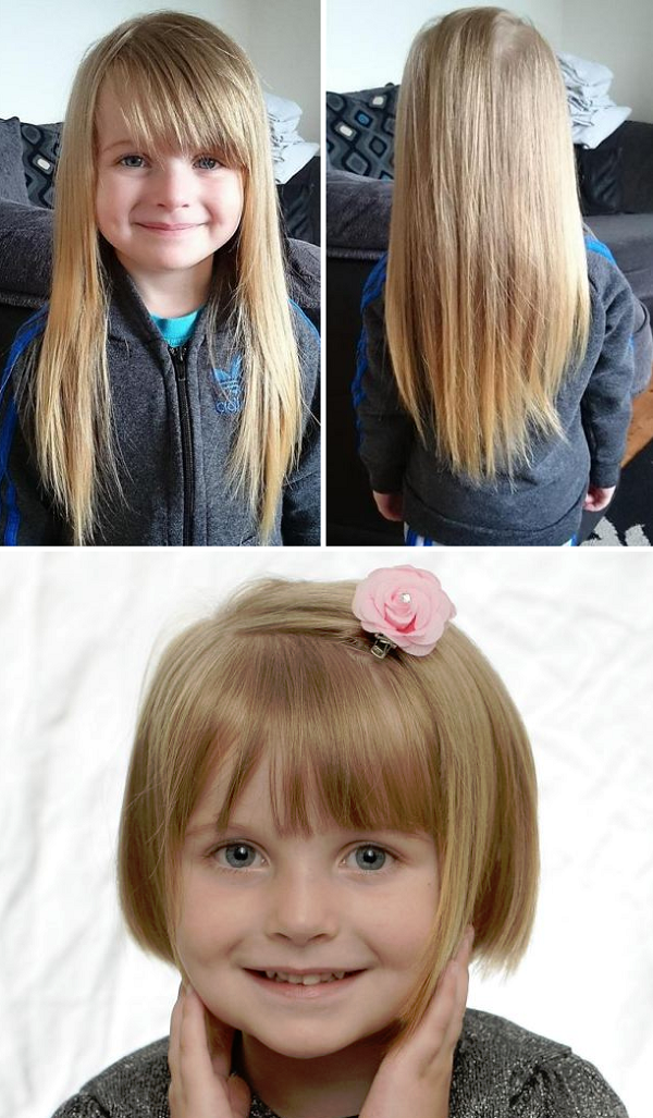 Evie-Leigh, aged 4, donates her long hair to make wigs for kids with cancer