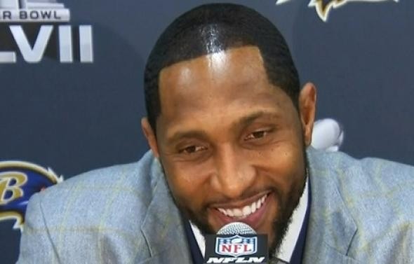 American Football Star Ray Lewis Sporting A Bad Bigen Dye Job At The Super Bowl XLVII Press Conference