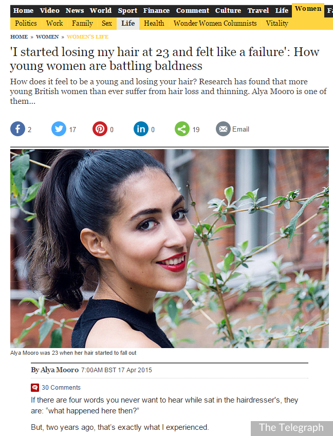 Belgravia Client Writes in The Telegraph About her Experience of Alopecia Areata Hair Loss